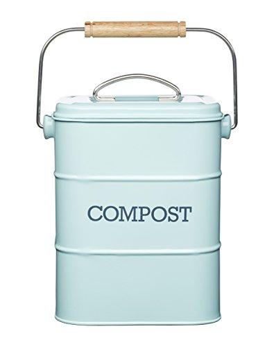 Poubelle à Compost Kitchen Craft Living Nostalgia - 3 L, Acier, Bleu