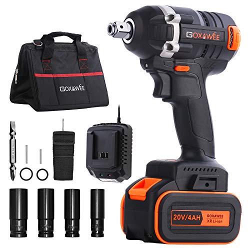 Boulonneuse à Choc brushless sans fil Goxawee - Batterie 4Ah, 11 Accessories et Sac à Outils (Via coupon - Vendeur tiers)