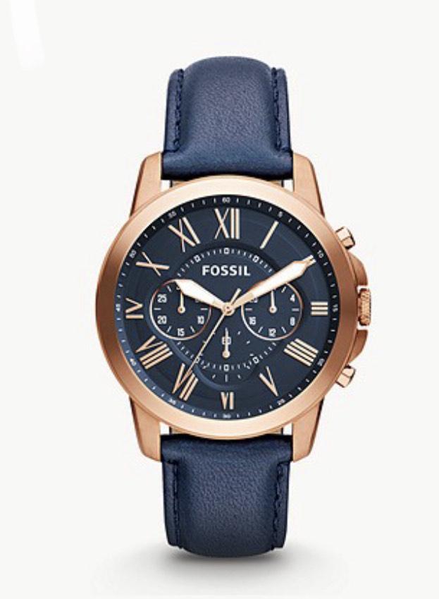 Montre chronographe en cuir Fossil Grant FS4835IE - 44 mm, Bleu