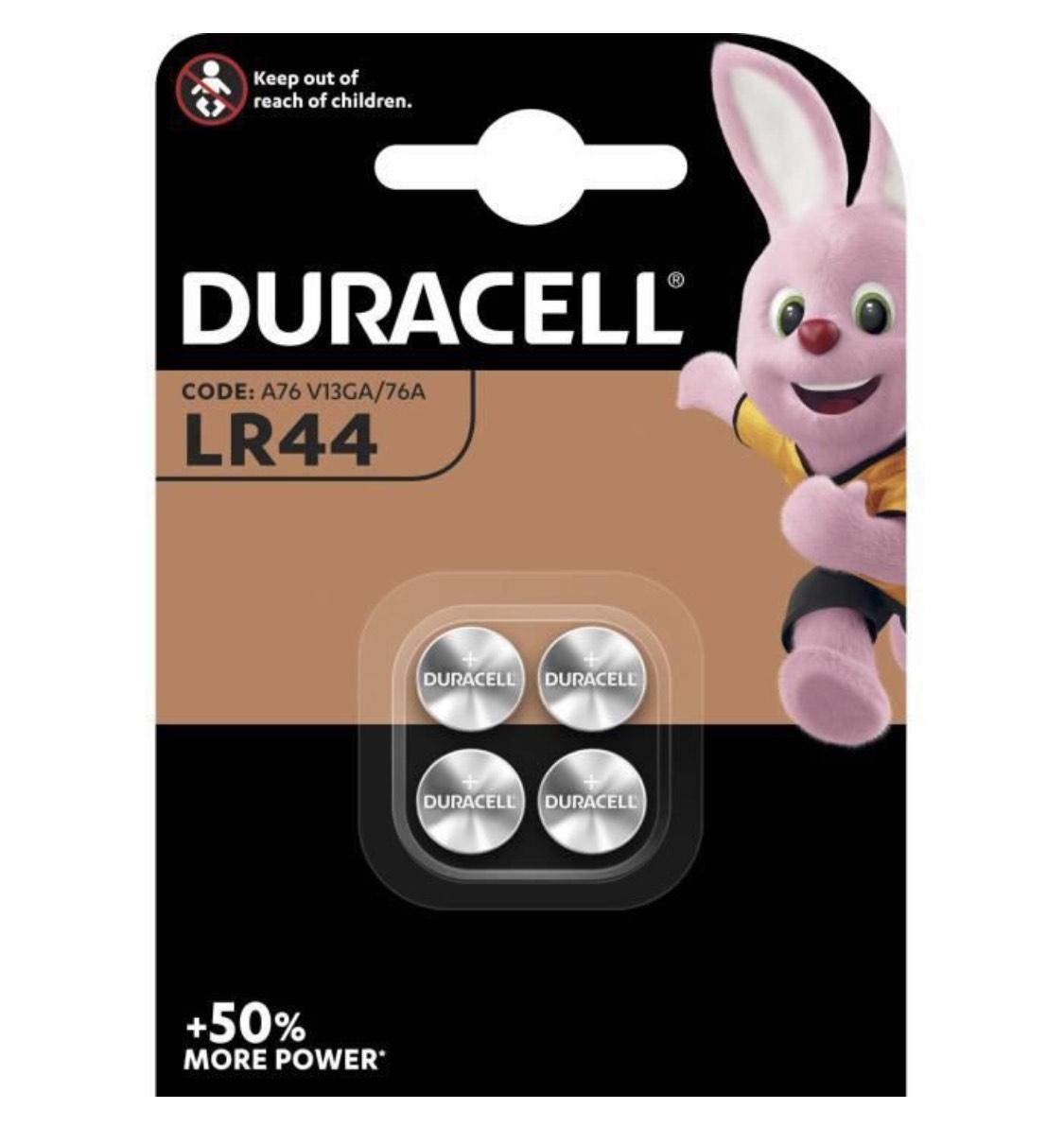 Lot de 4 piles bouton Alcalines type LR44 Duracell (76A / A76 / V13GA)