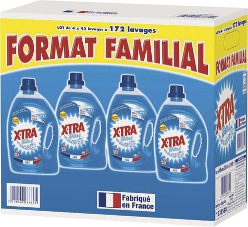 """Lot de 4 Bidons de 3 litres de Lessive Liquide """"X Tra Total"""""""