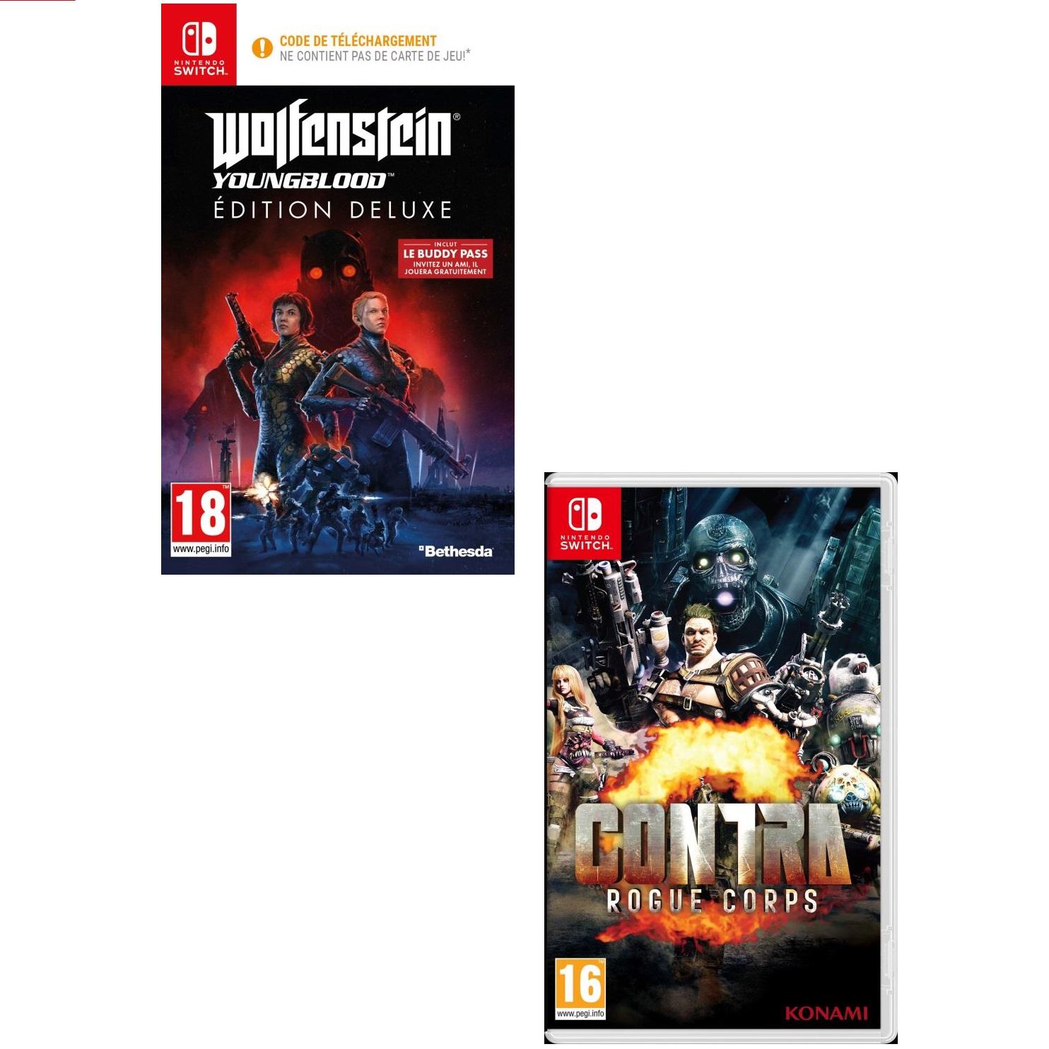 Sélection de jeux Nintendo Switch en promotion - Ex : Wolfenstein : Youngblood - Deluxe Edition ou Contra : Rogue Corps