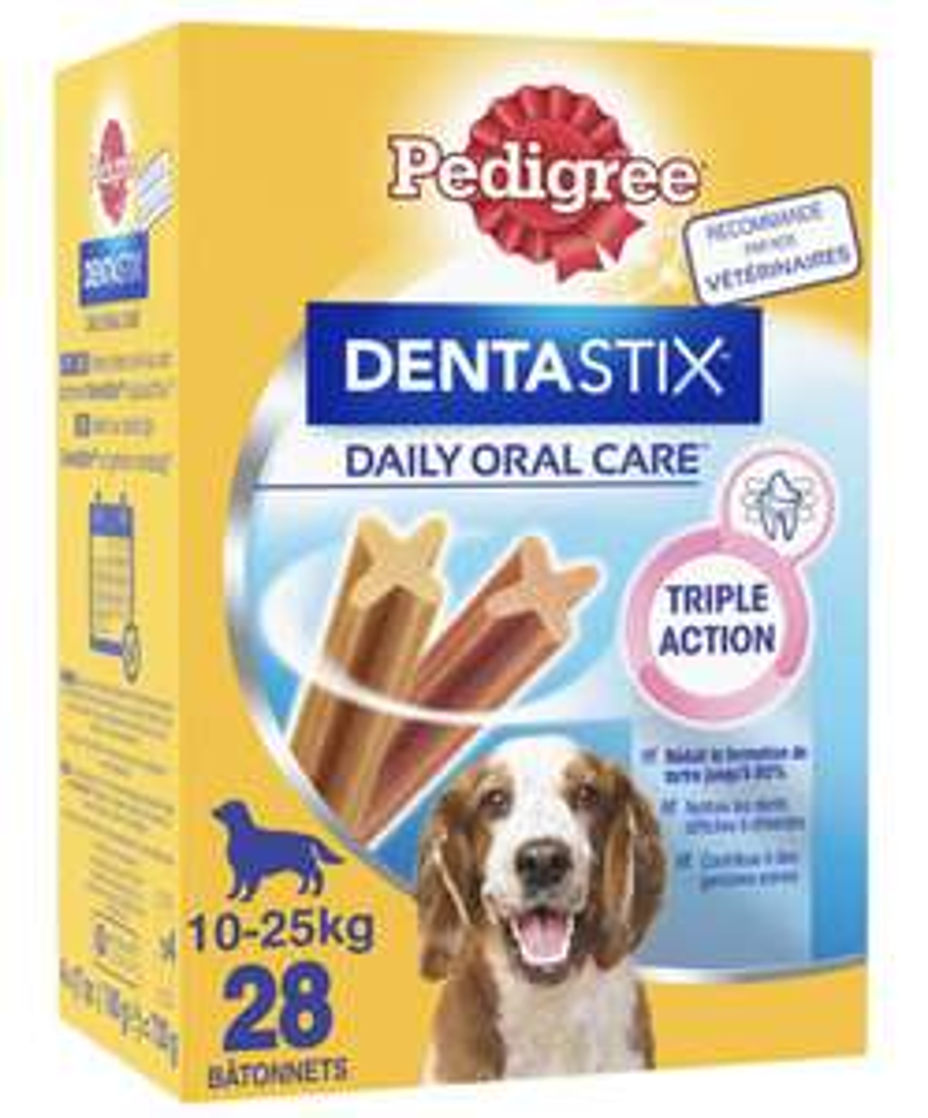 3 Boites de 28 sticks pour chiens médium Pedigree Dentastix - 84 sticks
