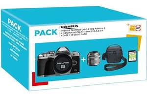 Pack Appareil photo hybride Olympus E-M10 MKIII S + Objectif 14-42/3,5-5,6 II R + Sacoche + Carte SD 16 Go