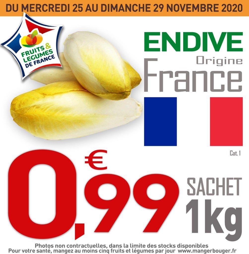 Sachet de 1kg d'endives - catégorie 1 (Origine France)