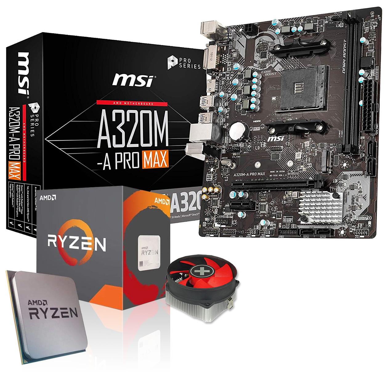 Kit d'évolution PC: Carte Mère MSI A320M-A Pro Max + Processeur AMD Ryzen 3 3200G 4x 3,6 GHz