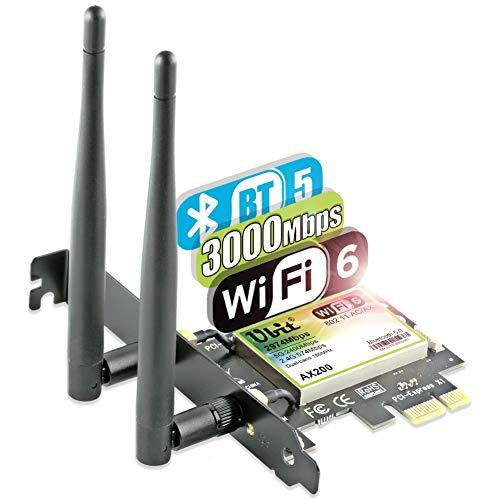 Carte Réseau Ubit Pci-E AX WiFi 6 et Bluetooth 5 (Vendeur Tiers)