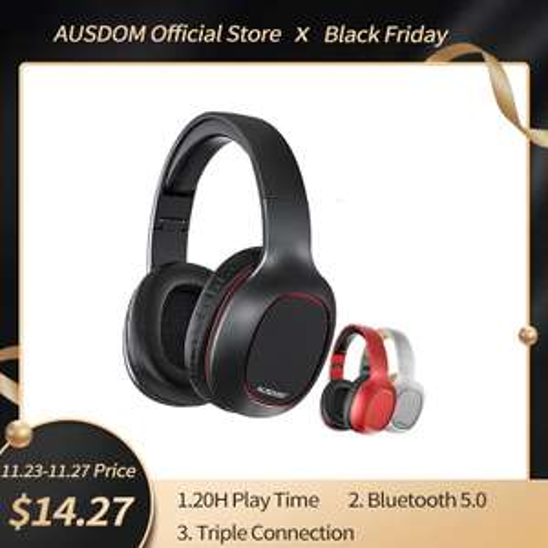 Casque audio sans-fil Ausdom M09 - Bluetooth 5.0, noir
