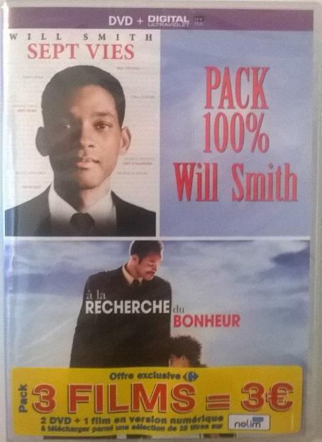 Sélection de Packs DVD à 3€ - Ex : Sept Vies + A la Recherche du Bonheur + Digital UV + 1 Film Offert en numérique parmi une Sélection