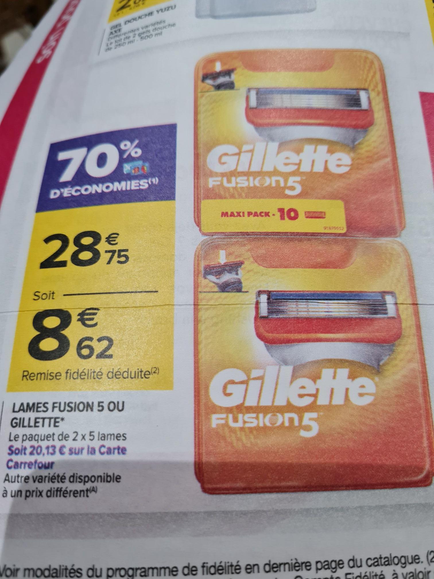 Pack de 10 lames de rasoir Gillette Fusion (via 20.13€ sur la carte)