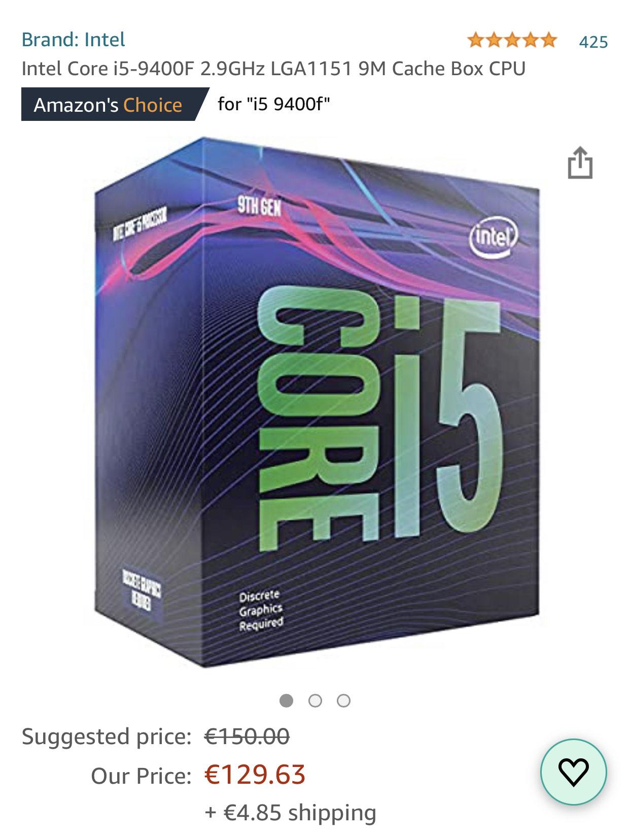 Processeur Intel Core i5-9400F - 2.9 GHz, mode Turbo à 4.1 GHz