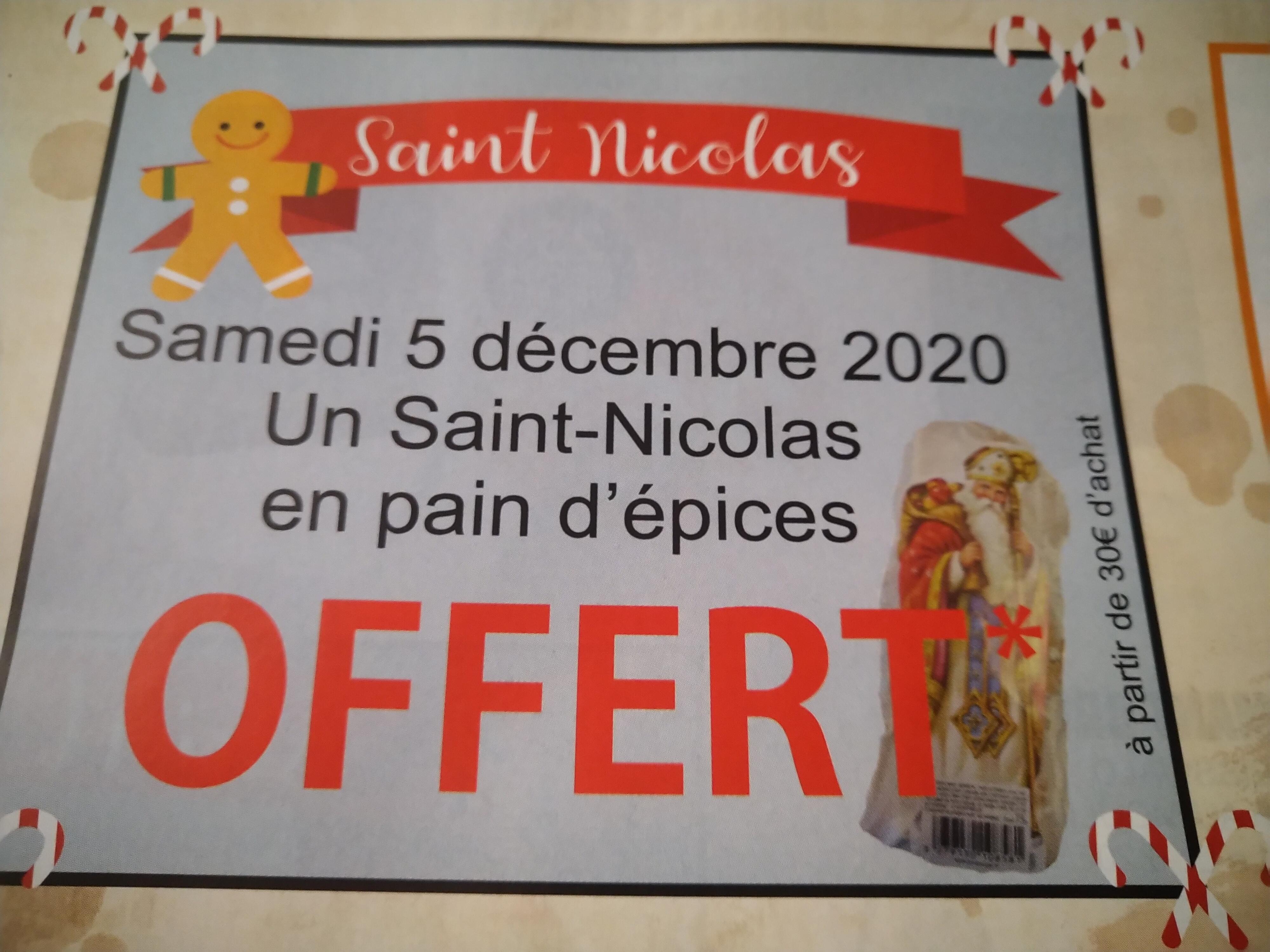 1 Saint-Nicolas en pain d'épices offert dès 30€ d'achat - Colmar / Ribeauvillé (68)