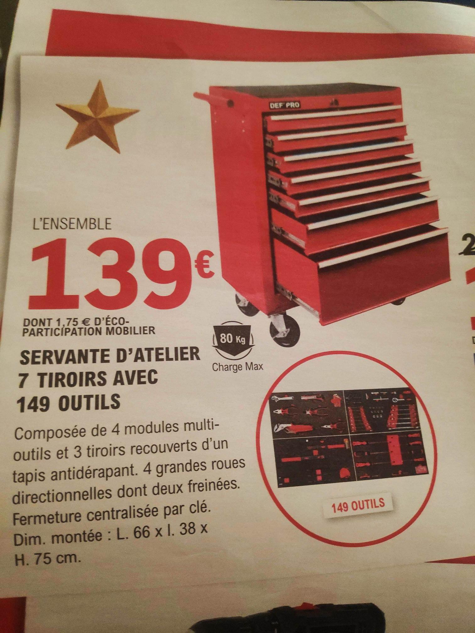 Servante d'atelier équipée - 7 tiroirs & 149 outils