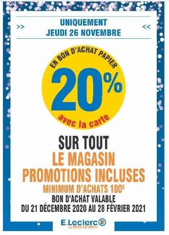 20% de réduction sous forme de bon d'achat sur tout le magasin dès 100€ d'achats - La Teste (33)
