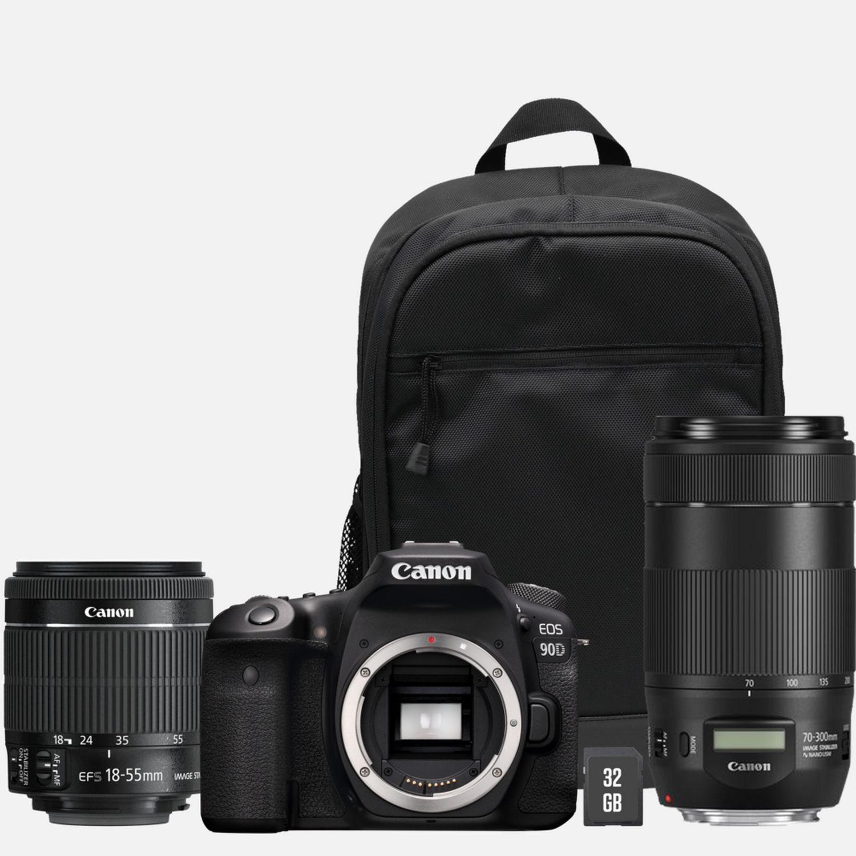 Appareil photo Reflex Canon EOS 90D + Objectif EF-S 18-55mm IS STM + Objectif EF 70-300mm IS II USM + Sac à dos + Carte SD