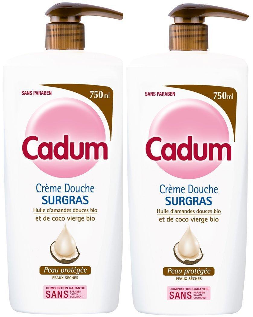 [Panier Plus]  Lot de 2 bouteilles de  gel douche  Cadum - Douche  Surgras Coco Pompe - 750 ml
