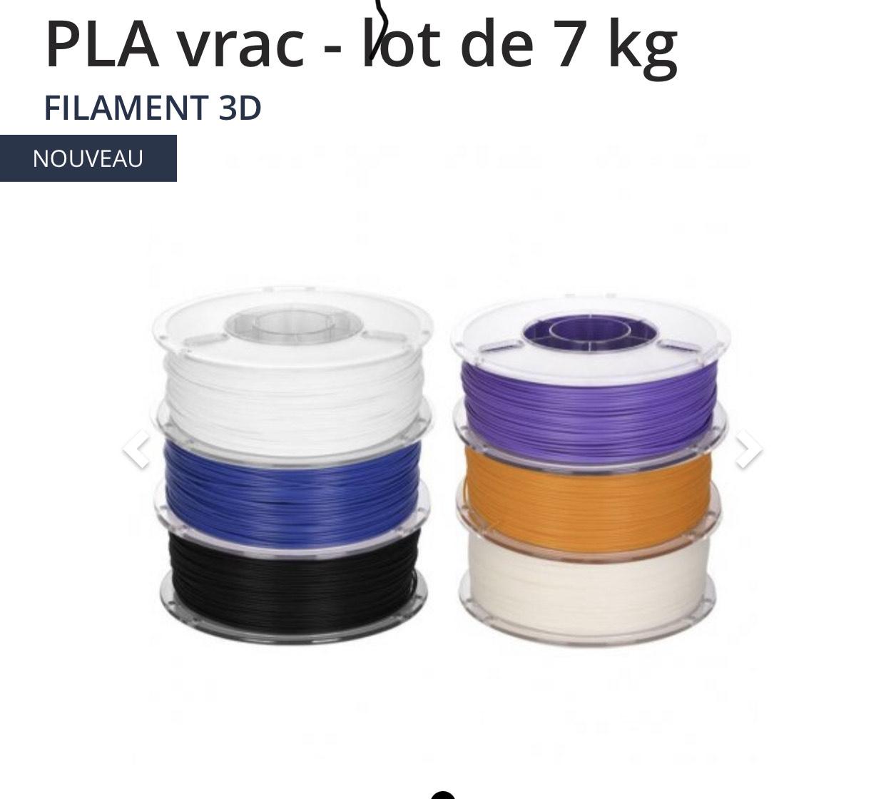 Lot de filaments pour imprimante 3D PLA (1.75 mm, 7 kg, différents coloris) - MakerShop.fr
