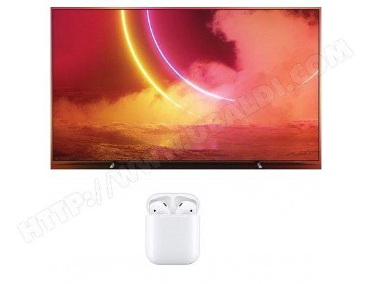 """TV 55"""" Philips 55OLED805 - 4K UHD, OLED, Smart TV, Ambilight 3 côtés + Écouteurs sans-fil AirPods 2 - Charge Filaire"""