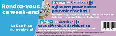 Bon de réduction de 8€ dès 80€ d'achat chez Carrefour dans l'édition du 19 avril