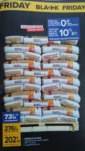 Palette de 66 sacs de granulés de bois (Via 73.85€ sur la carte fidélité)