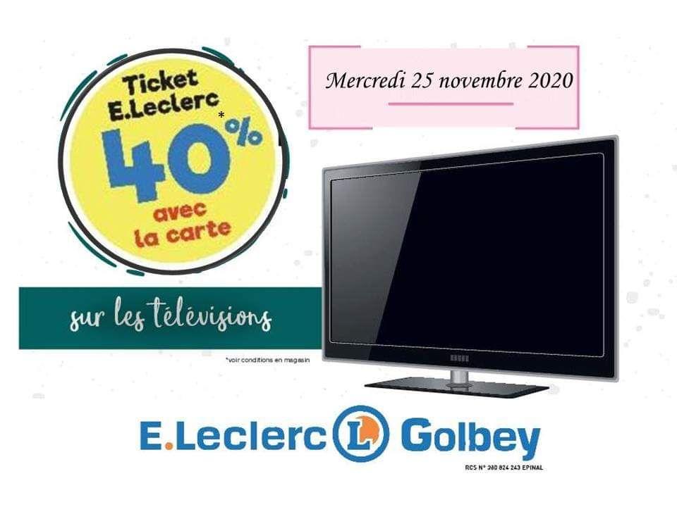 40% remboursés en tickets E.Leclerc sur les TVs - Golbey (88)