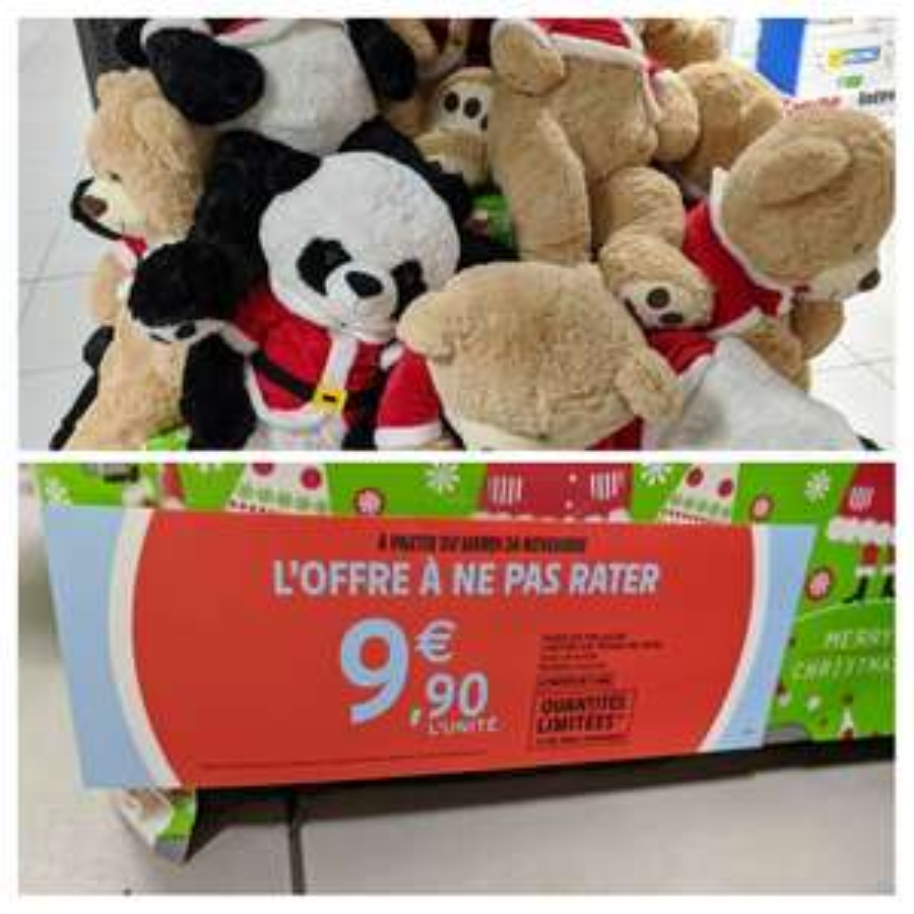 Peluche de Noël ours ou panda - 1m