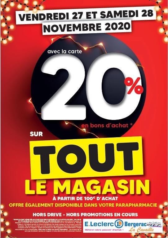 20% offerts en bon d'achat sur tout le magasin - Bergerac (24)