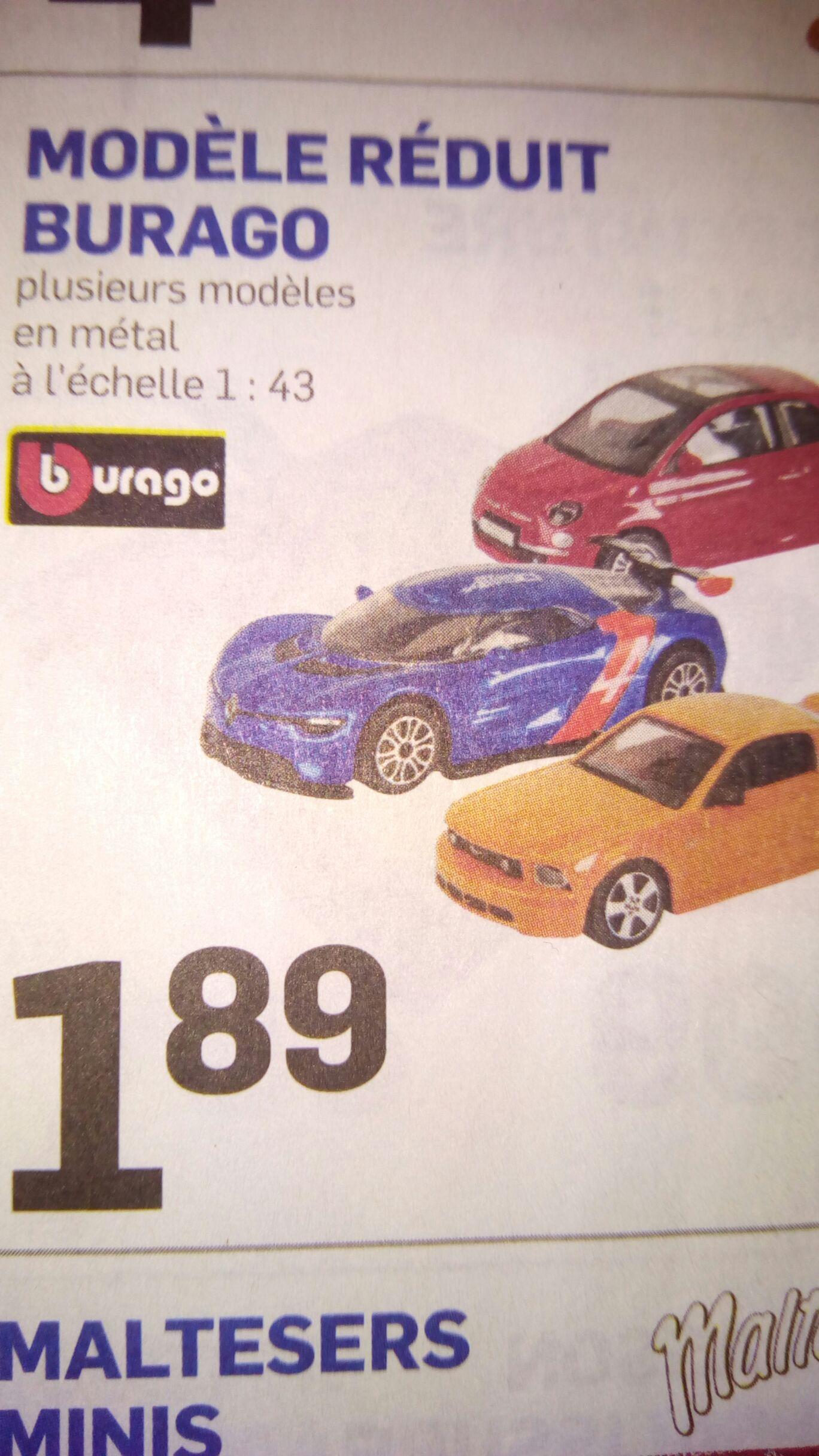 Modèle réduit voiture Burago en métal (Echelle 1:43) - Plusieurs modèles