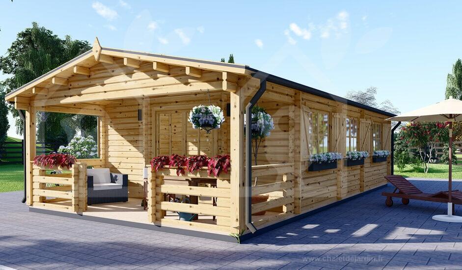 Chalet en bois Hymer 42m² + 10 m² terrasse (chaletdejardin.fr)