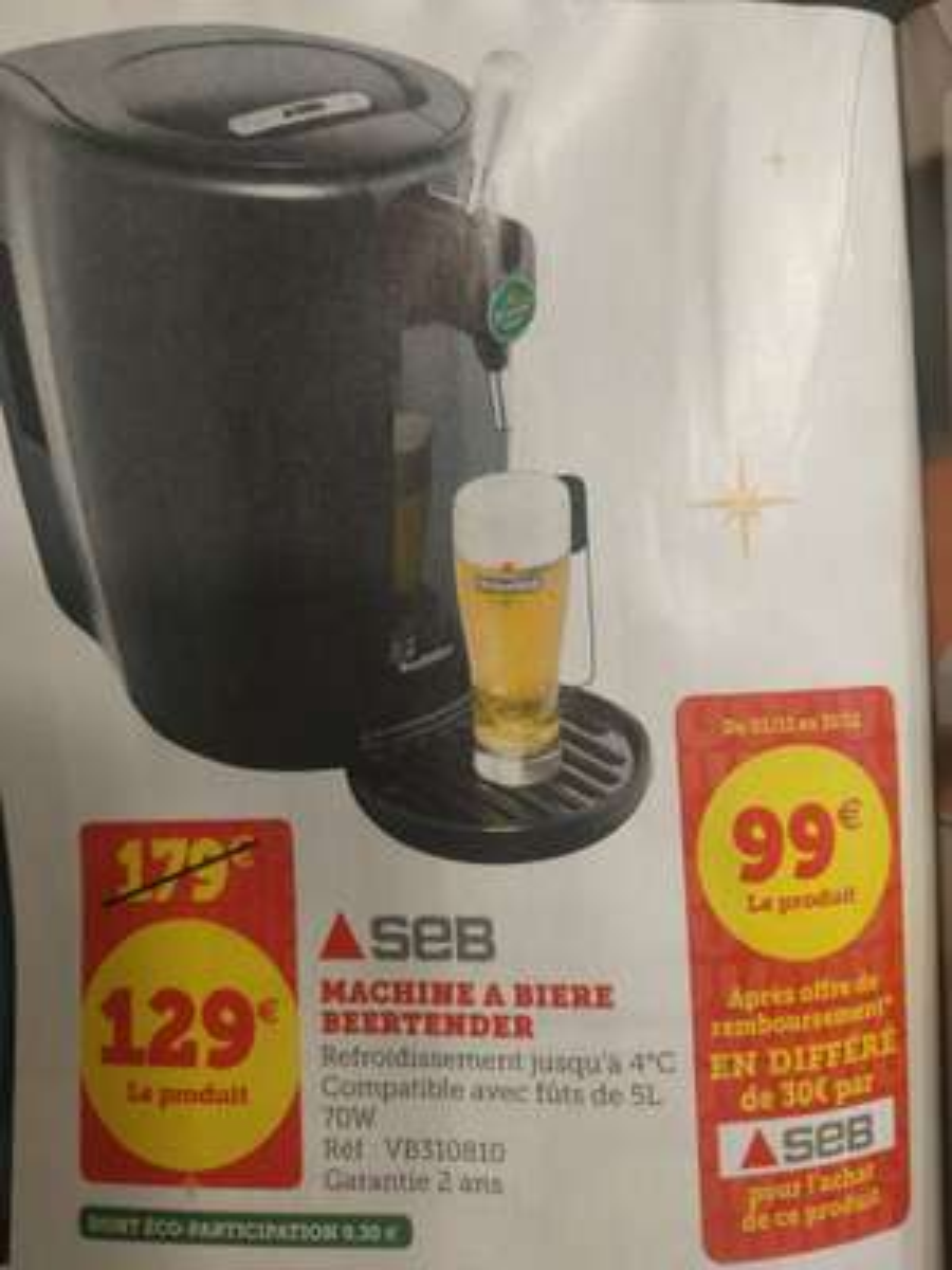 Machine à bière SEB Beertender VB310E10 - Noir (via ODR 30€)