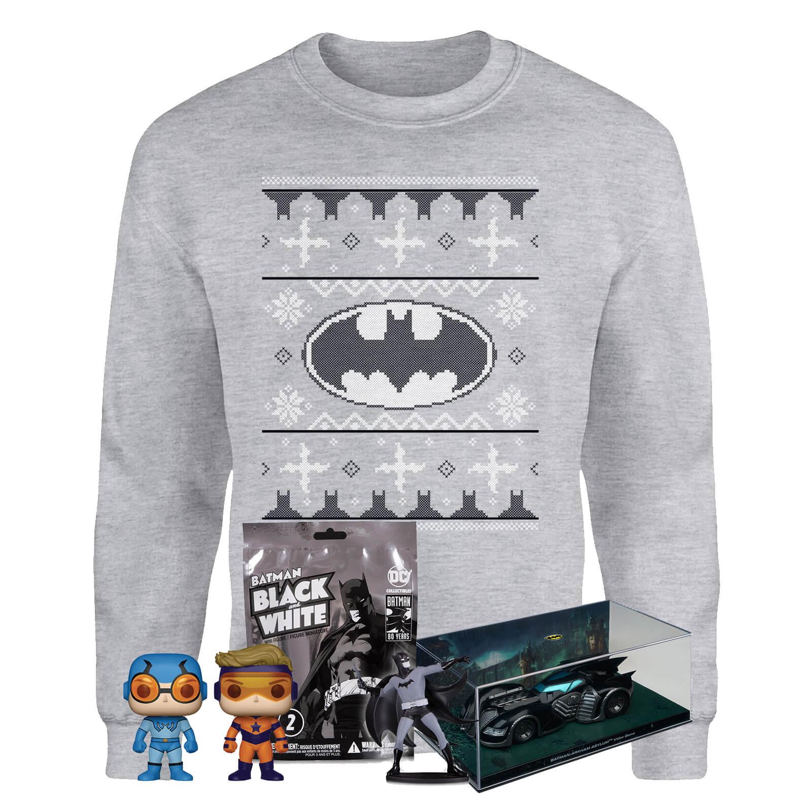 Lot de Noël DC Comics : 1 Pull de Noël Batman (S au XXL) + 1 réplique de la Batmobile + 1 Pop + 1 figurine Batman