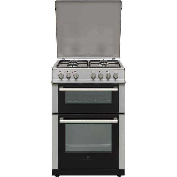 Cuisinière électrique double-fours Continental Edison CECDF6060IX - 81 L (50+31), avec 4 brûleurs à gaz