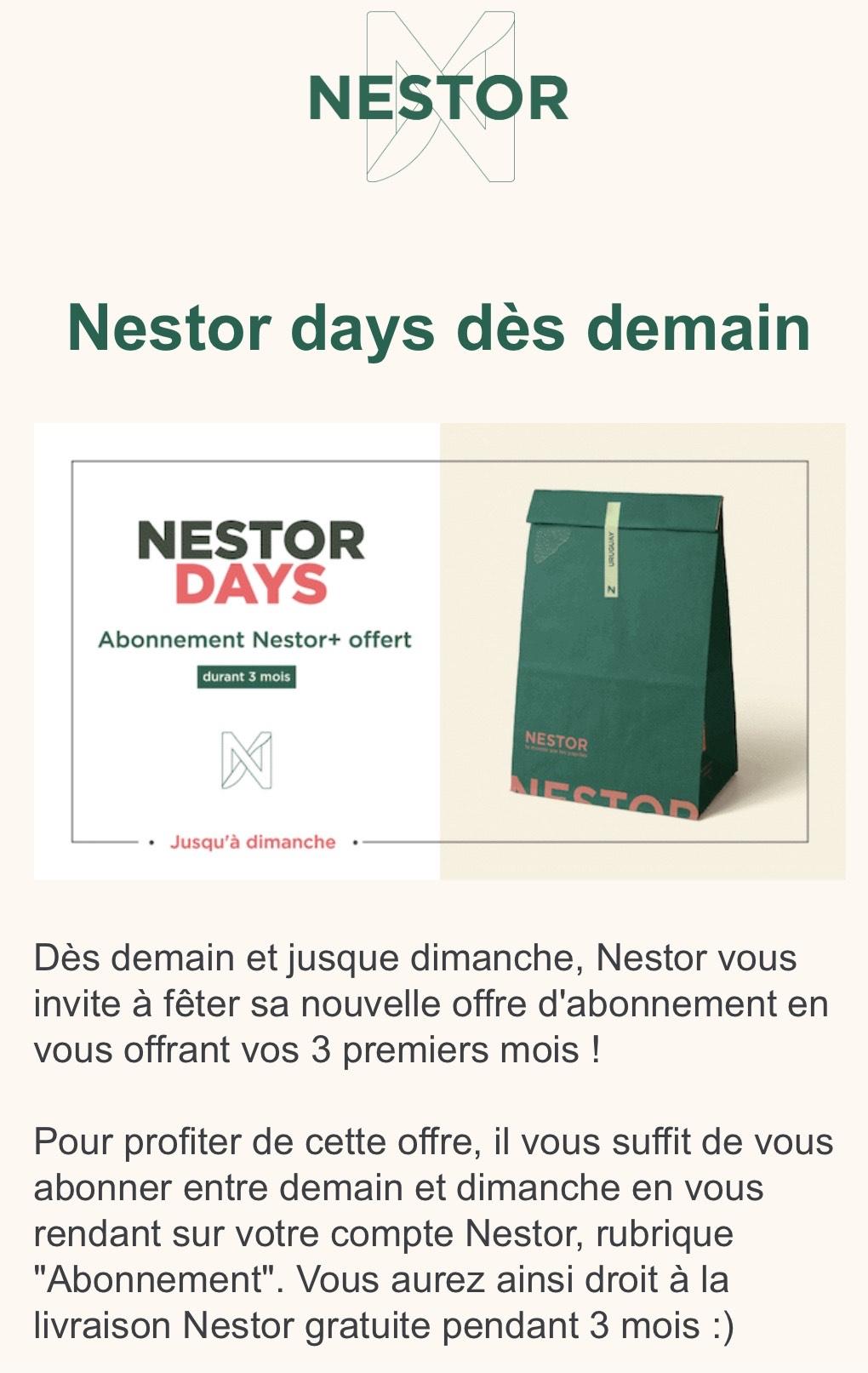 Abonnement de 3 mois gratuit au service de livraison Nestor+ - Paris (75)