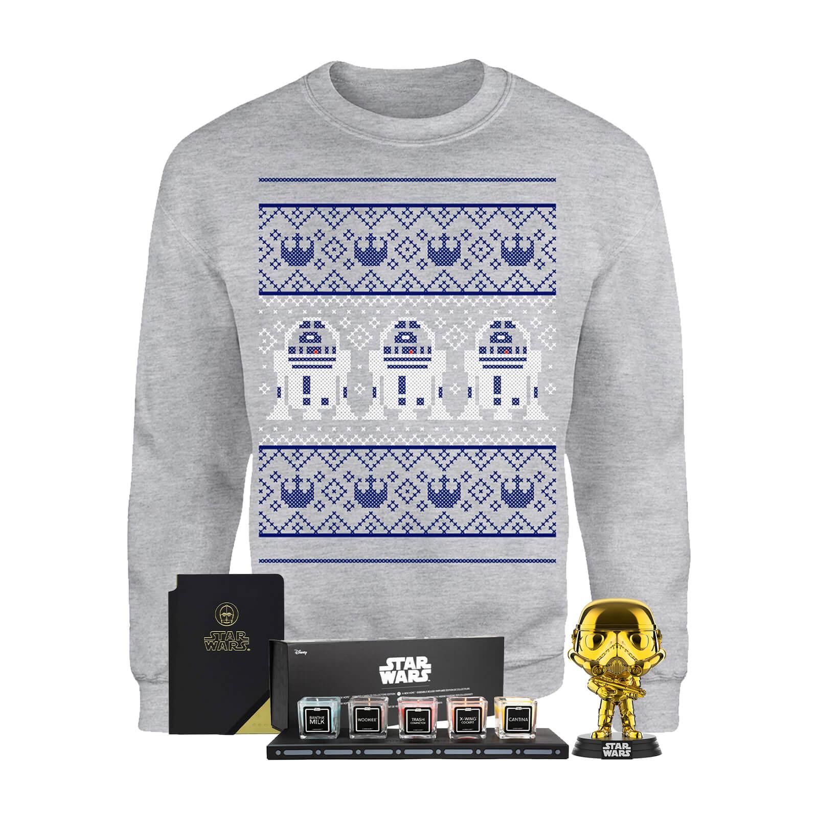 Lot de Noël Star Wars : 1 Pull de Noël (du S au XXL) + 1 lot de 5 bougies Star Wars + 1 Pop + 1 Notebook officiel