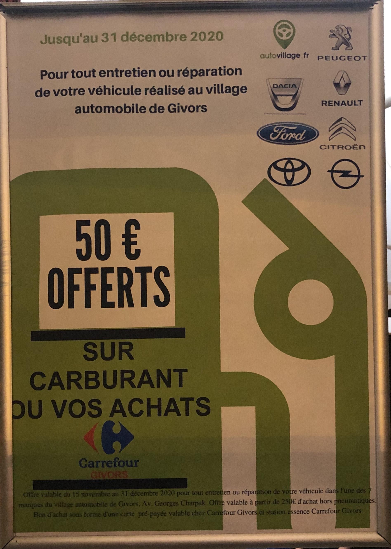 50€ de carburant offert pour tout entretien ou réparation de 250€ minimum (hors pneumatique) - Givors (69)