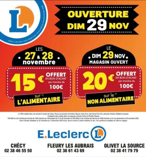 20€ offerts en bon d'achat par tranche de 100€ d'achat sur le non alimentaire - Chécy, Fleury les Aubrais & Olivet La Source (45)