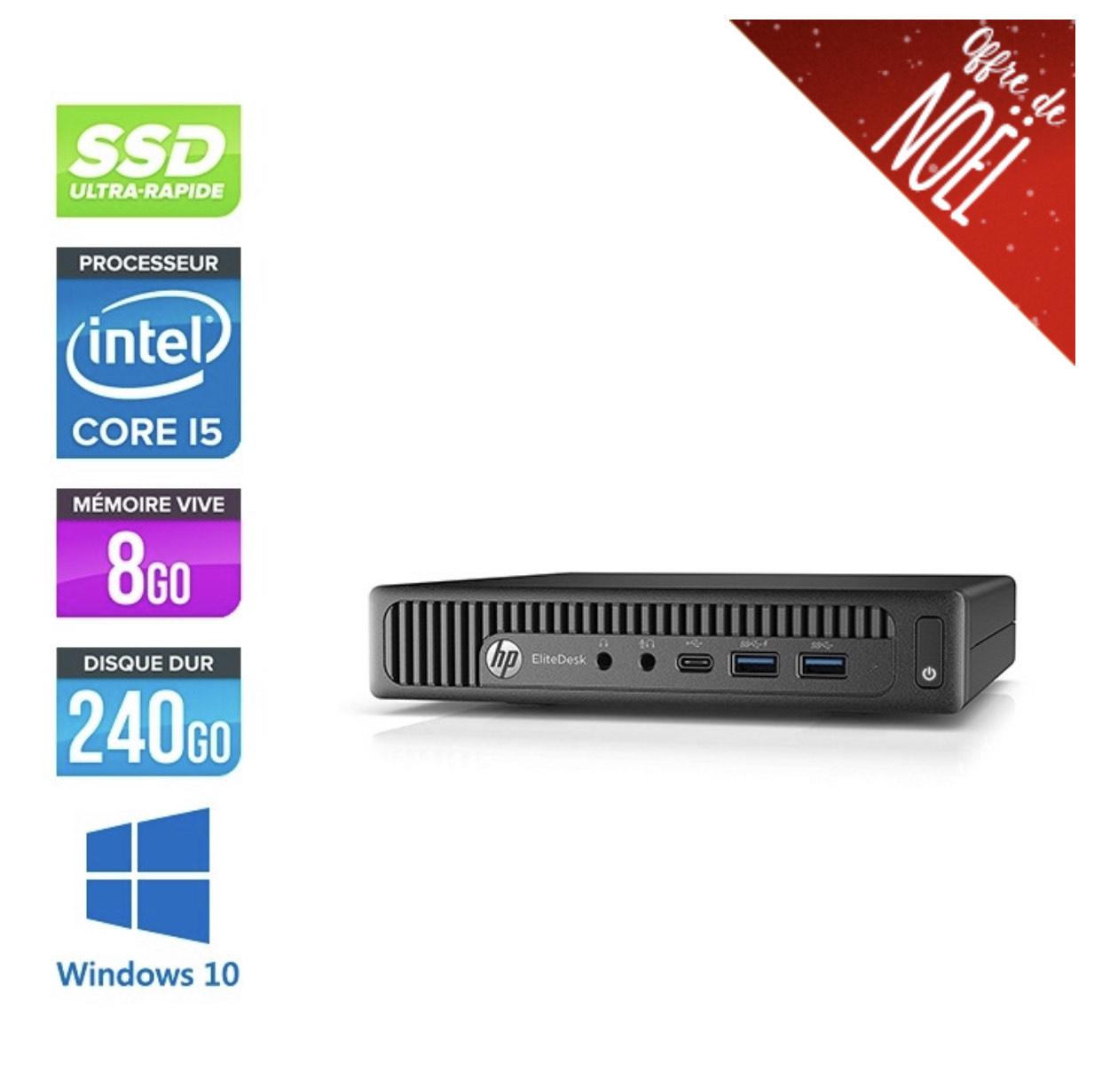 PC de bureau HP - i5-6500T 2.50 GHz, 8 Go RAM, SSD 240 Go, Reconditionné