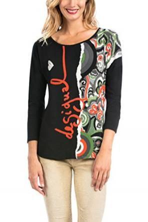 T-Shirt Imprimé Desigual Carme pour Femme - Noir
