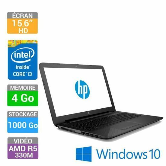 "PC Portable 15.6"" HP Notebook 15-ac116nf - Intel Core i3-5005U 2 GHz, RAM 4 Go, HDD 1 To (+ 10% en 1 bon d'achat)"