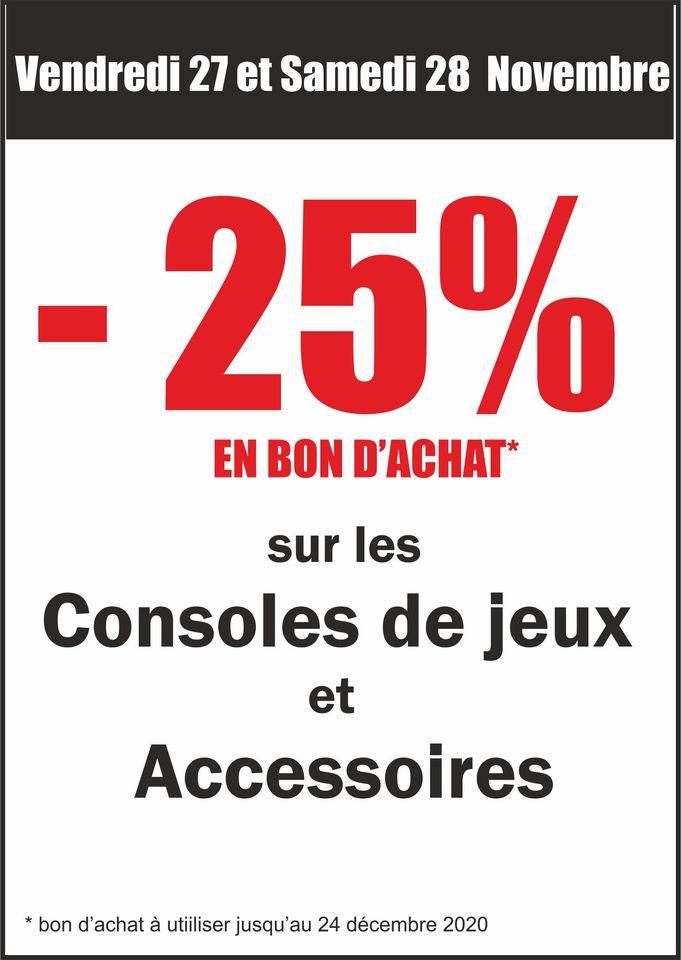 25% remboursés en bon d'achat sur les Consoles & Accessoires - Vallet (44)