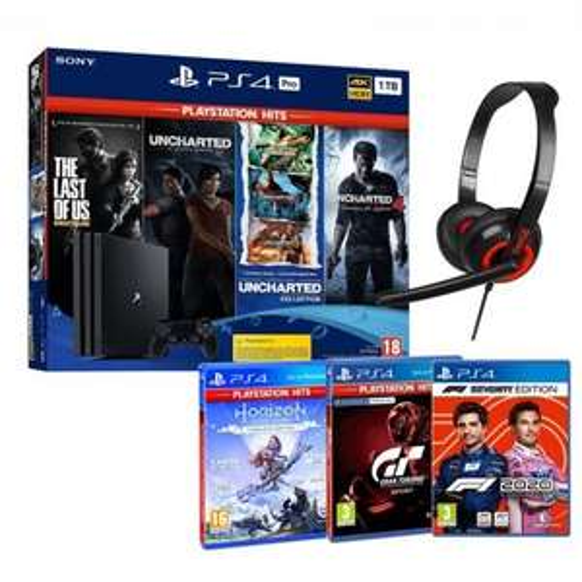 Pack Console Sony PS4 Pro (1 To) + 9 Jeux + Micro casque filaire -Boîtes espagnole, Langue FR