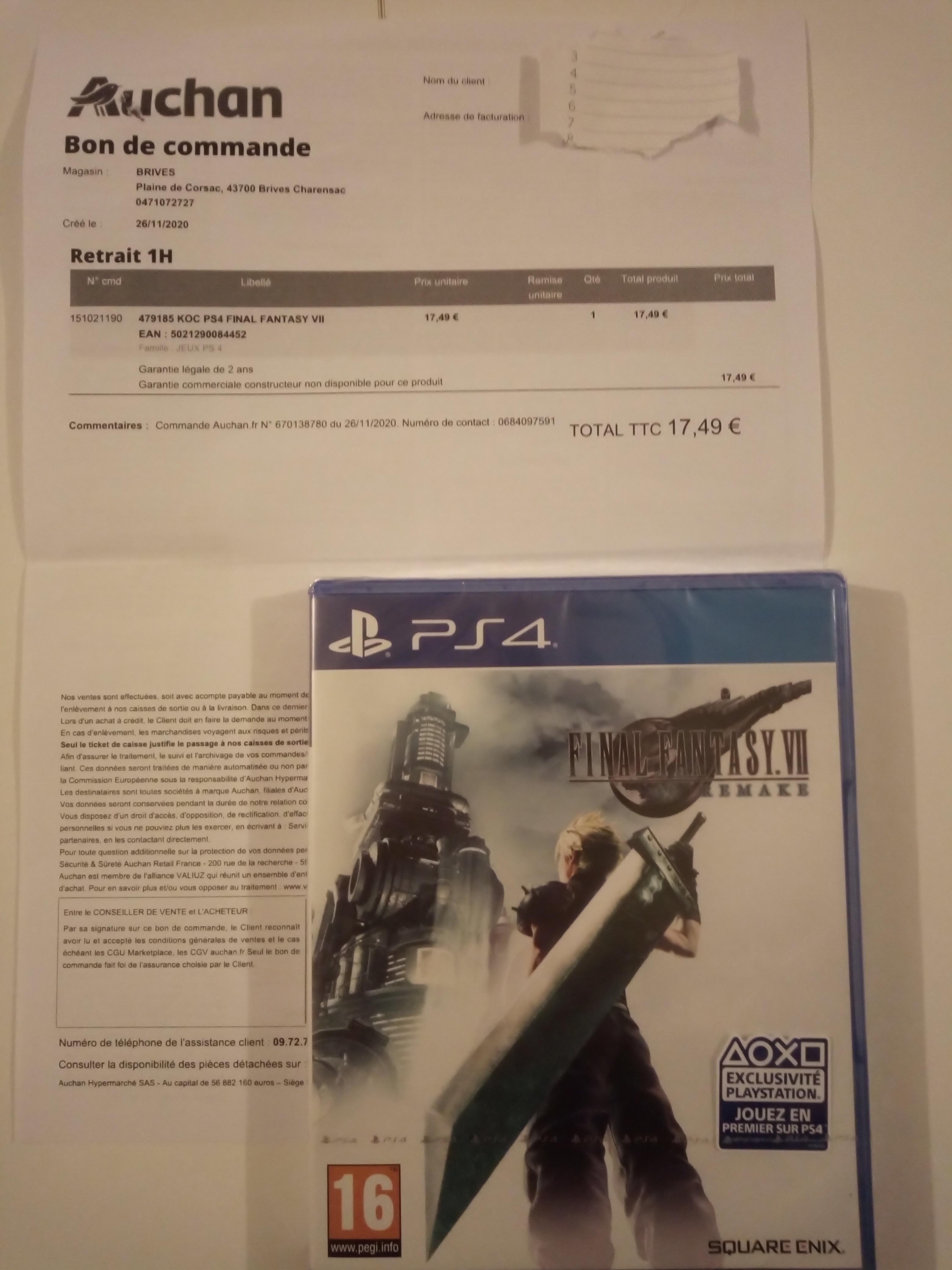 Final Fantasy VII Remake sur PS4 - Auchan Brives Charensac (43), Sarcelles (95)