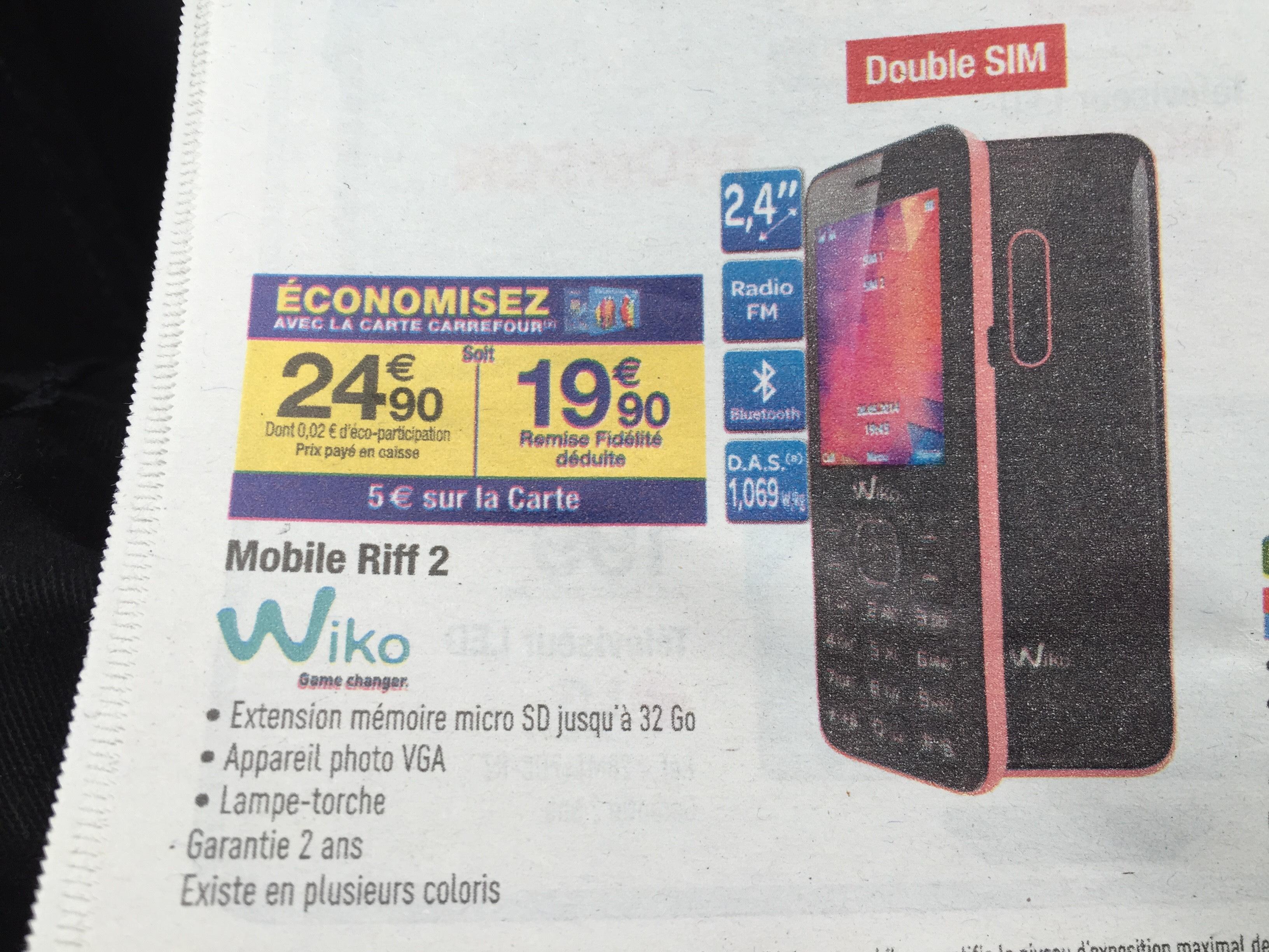 Téléphone Wiko Riff 2 - Double SIM (avec 5€ sur la carte)