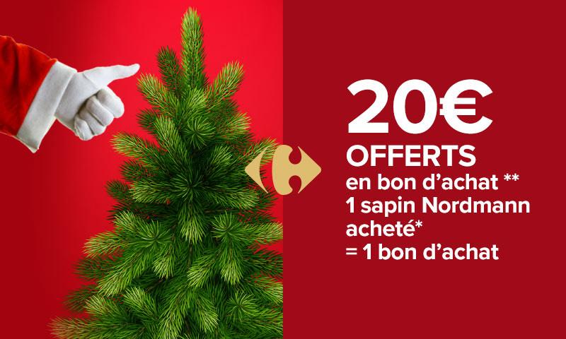 20€ offerts en bon d'achat pour l'achat d'un sapin Nordmann