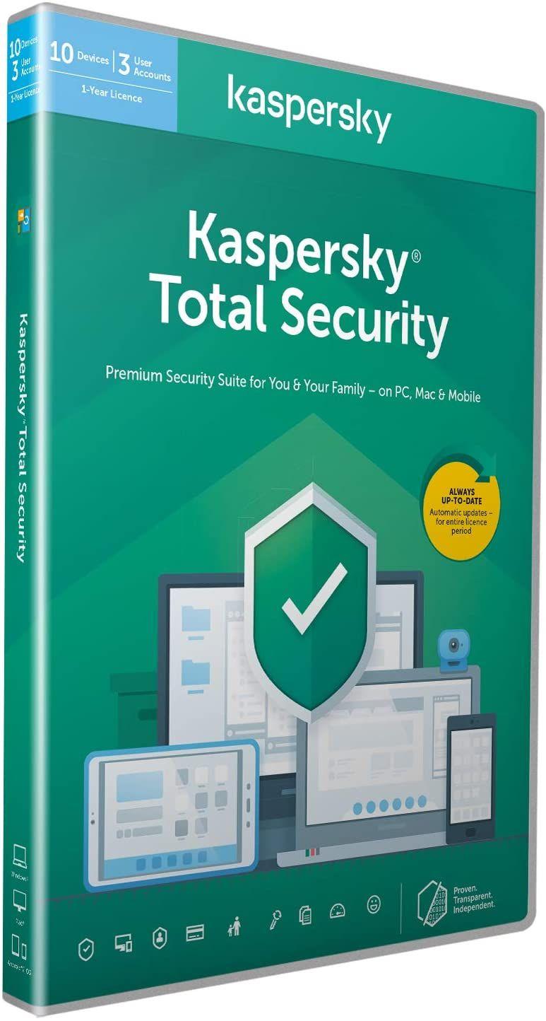 Licence Antivirus Kaspersky Total Security - 1 an, 10 Appareils