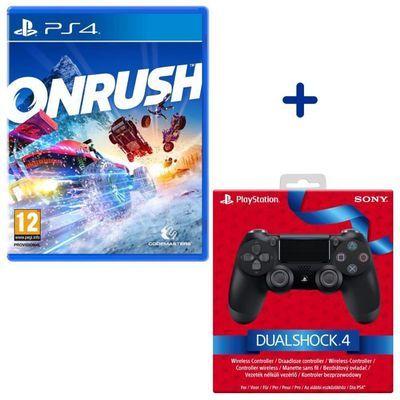 Pack Manette PS4 Dualshock 4.0 V2 Jet Black + Jeu OnRush