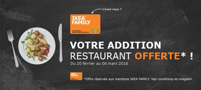 [Ikea Family]Addition au restaurant ou Montant de Vos courses à l'épicerie suédoise offert en chèque cadeau