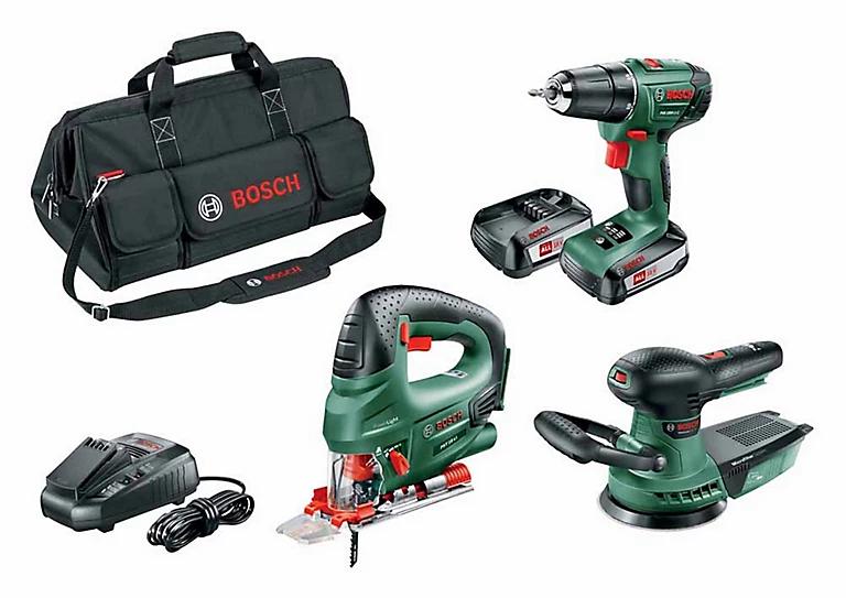 Lot de 3 outils Bosch: Perceuse, scie sauteuse, ponceuse excentrique + sac de transport (via ODR de 40€)