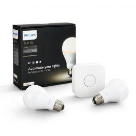 Kit de démarrage Philips Hue Smart Home LED : 2 Ampoules E27 LEDbulb Blanc 2700K + Pont de connexion (lampesdirect.fr)