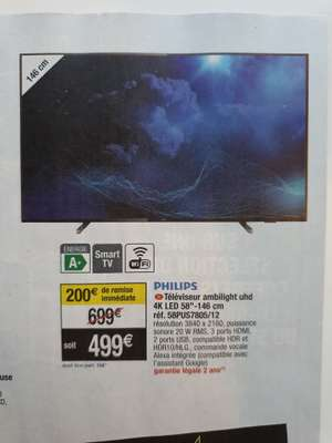 """TV 58"""" Philips 58PUS7805 - 4K UHD, HDR10+, Smart TV, Dolby Atmos & Vision Ambilight 3 (3 canaux) (Magasins participants)"""